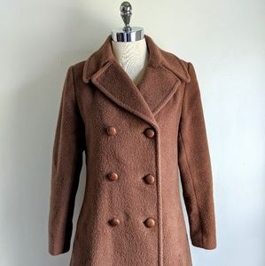 vintage 70's  brushed wool double breasted coat